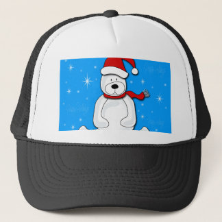 Blue polar bear trucker hat