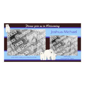 Blue Polar Bears Birth Announcement Card