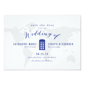 Blue Police Box Save the Date 13 Cm X 18 Cm Invitation Card
