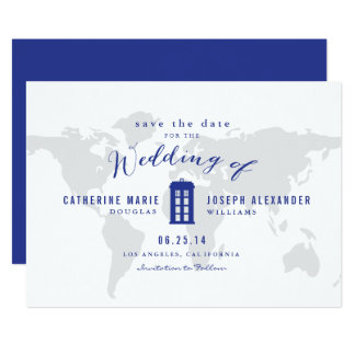Blue Police Box Save the Date Card