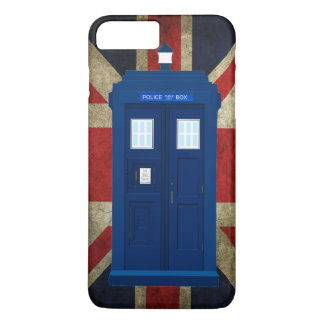 Blue police call box with Union Jack Flag iPhone 8 Plus/7 Plus Case