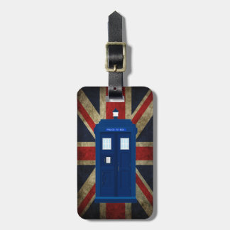 Blue Police Phone Box UK British Union Jack Flag Luggage Tag