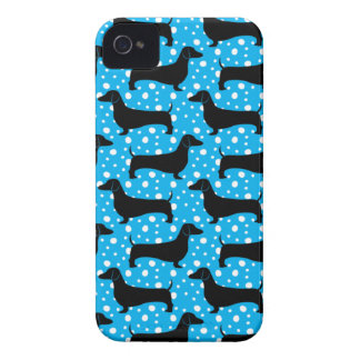 Blue Polka Dachshunds Case-Mate iPhone 4 Case