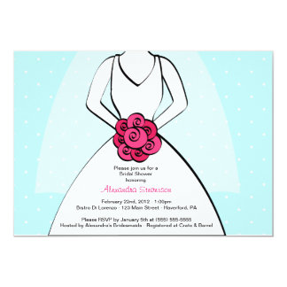 Blue Polka Dot Bridal Shower Invitation