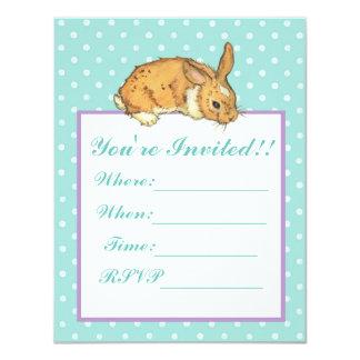 Blue Polka Dot Bunny 11 Cm X 14 Cm Invitation Card
