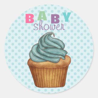 Blue Polka Dot & Cupcake Baby Shower Sticker/seal