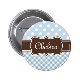 Blue Polka Dot Gingham Patterns Brown Name Buttons