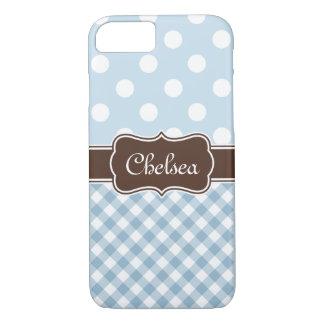 Blue Polka Dot Gingham Patterns Brown Name iPhone 8/7 Case