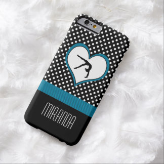 Blue Polka-Dot Gymnastics with heart Barely There iPhone 6 Case