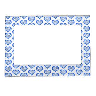 Blue Polka Dot Hearts Magnetic Picture Frame