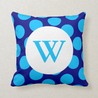 Blue Polka Dot Monogram Cushion