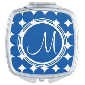 Blue Polka Dot Monogram Mirror For Makeup