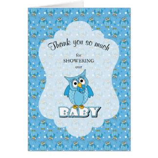 Blue Polka Dot Owl Baby Shower Thank You Card