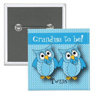 Blue Polka Dot Owl | Baby Shower Theme 15 Cm Square Badge