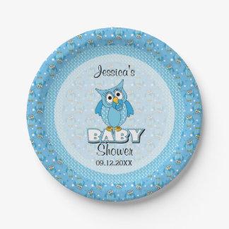 Blue Polka Dot Owl Baby Shower Theme Paper Plate