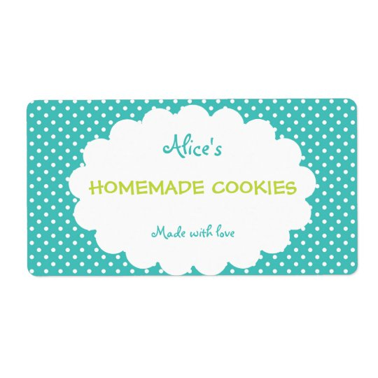 Blue Polka Dot Personalised Homemade Cookies Shipping Label