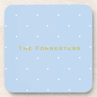 Blue Polka Dot Personalized Drink Coasters (6)