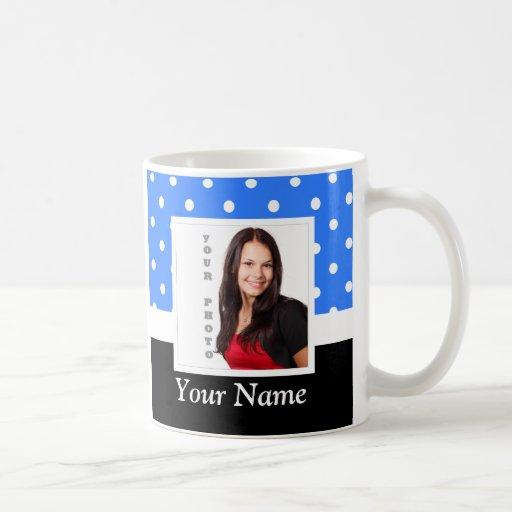 Blue polka dot photo template mug
