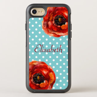 Blue Polka Dot, Red Poppies, Floral, Personalised OtterBox Symmetry iPhone 7 Case