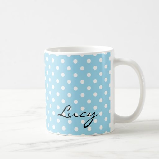 Blue Polka Dot Retro Style Mug