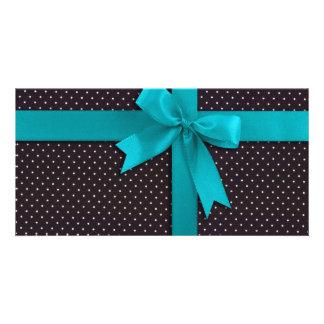 Blue Polka Dot Ribbon Photo Card Template