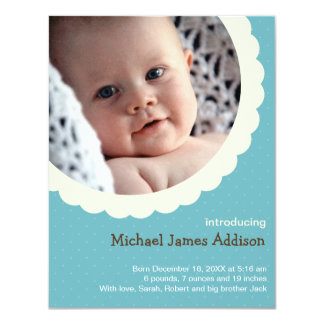 Blue polka dot rosette photo cute baby birth 11 cm x 14 cm invitation card