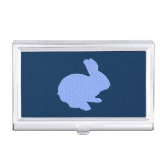 Blue Polka Dot Silhouette Bunny Card Holder Business Card Holders