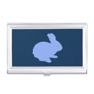 Blue Polka Dot Silhouette Bunny Card Holder Case For Business Cards