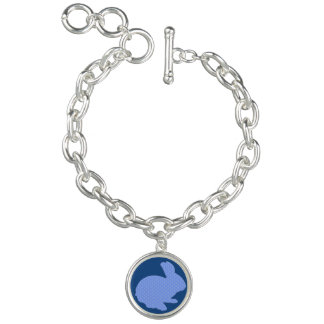 Blue Polka Dot Silhouette Bunny Charm Bracelet