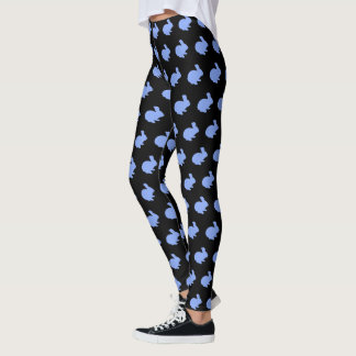 Blue Polka Dot Silhouette Bunny Rabbit Leggings