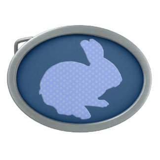 Blue Polka Dot Silhouette Easter Bunny Belt Buckle