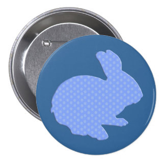 Blue Polka Dot Silhouette Easter Bunny Button