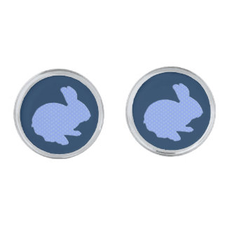 Blue Polka Dot Silhouette Easter Bunny Cufflinks Silver Finish Cufflinks