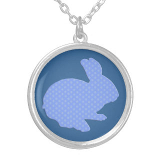 Blue Polka Dot Silhouette Easter Bunny Necklace