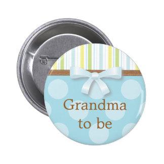 Blue Polka Dot Stripes - Grandma to Be Pin
