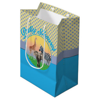 Blue Polka Dot Zoo Animal Baby Shower Bag