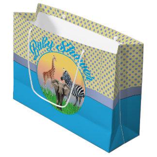 Blue Polka Dot Zoo Animal Baby Shower LG  Bag