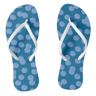 Blue Polka Dots Adult Slim Straps Flip Flops Thongs
