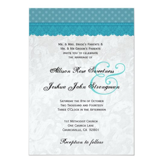 Blue Polka Dots and Lace Wedding V001 Card
