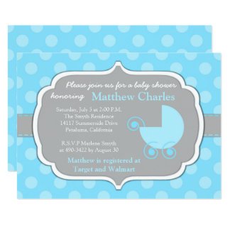 Blue Polka Dots Baby Boy Baby Shower Invitation