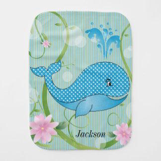 Blue Polka Dots Baby Whale Burp Cloth