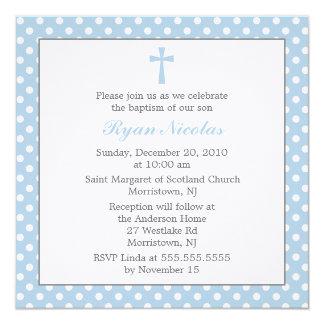 Blue Polka Dots Baptism Card