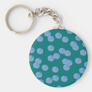 Blue Polka Dots Basic Button Keychain