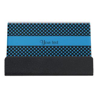 Blue Polka Dots Desk Business Card Holder