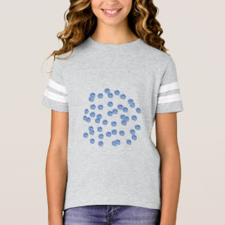 Blue Polka Dots Girls' Football T-Shirt
