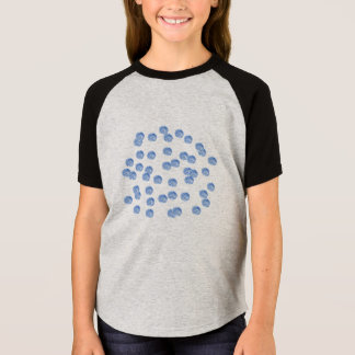 Blue Polka Dots Girls' Short Sleeve Raglan T-Shirt