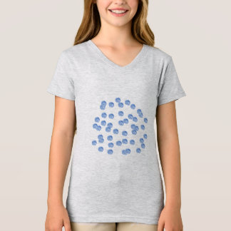 Blue Polka Dots Girls' V-Neck T-Shirt