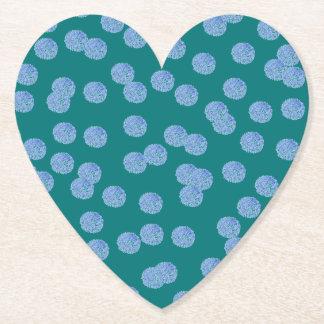 Blue Polka Dots Heart Paper Coaster