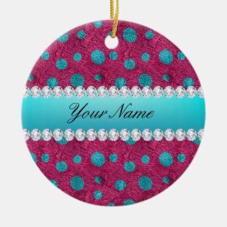Blue Polka Dots Hot Pink Faux Diamonds Ceramic Ornament