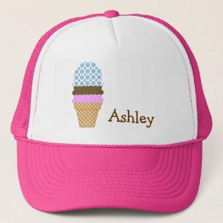 Blue Polka Dots; Ice Cream Cone Trucker Hat